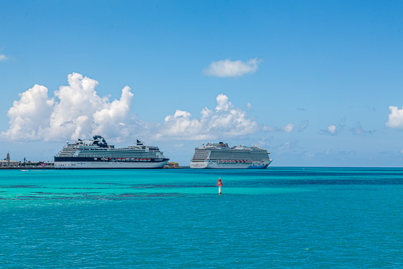 Two Cruise Ships at Bermuda Dockyard.