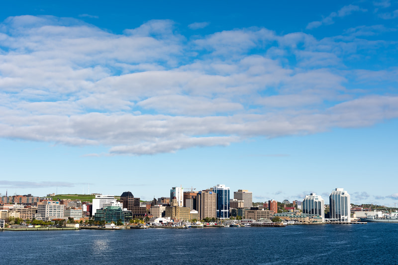 Halifax Nova Scotia skyline with halifax Harbour, the second deepest harbour in the world.