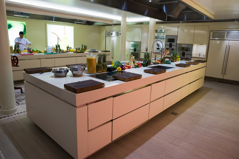 Modern neat and clean industrial kitchen on board