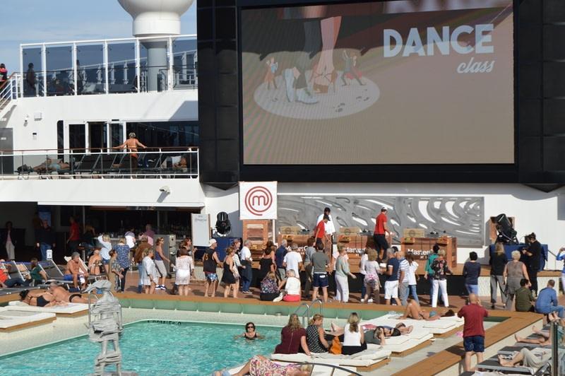 Teaching tourists to dance on a cruise ship