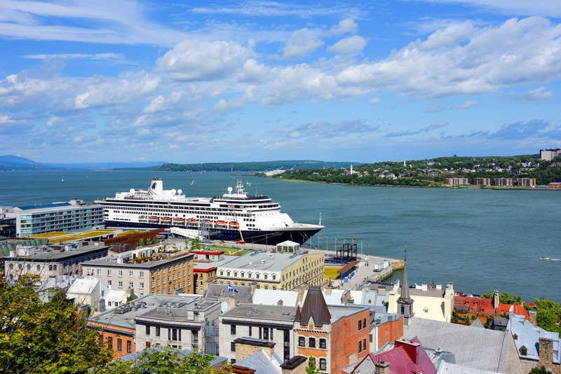 View of the Lower Town of the Old City with the MS MS Zaandam docked at the Old Port. Quebec City is a very popular cruise ship destination.