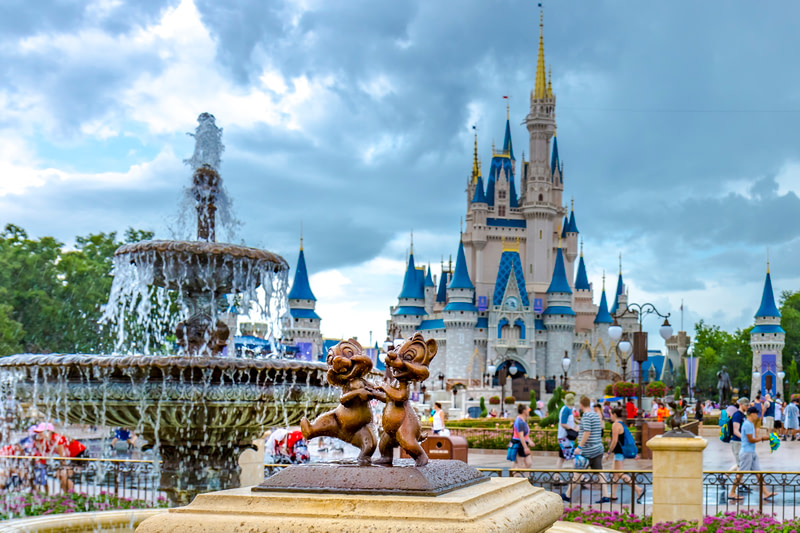 Disney World Orlando Florida Magic Kingdom chip and dale statue
