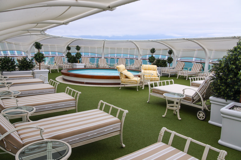 Relax at spa area on the upper decks of a modern cruise ship.