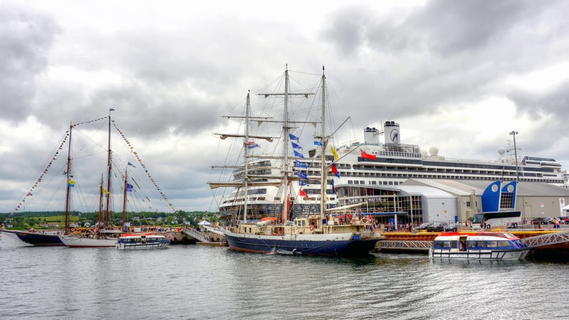 The MS Rotterdam cruise ship is also docked at the wharf as Sydney is a regular stop for cruises.