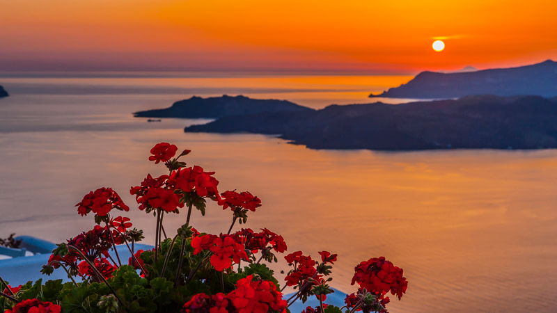 Beautiful red sunset on Santorini